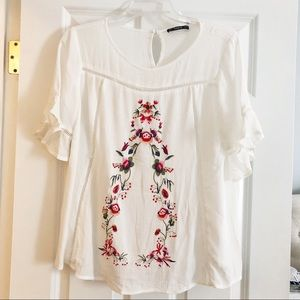 Tops - Embroidered bell sleeve blouse size small